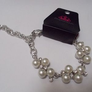 Silver and White Beaded Bracelet